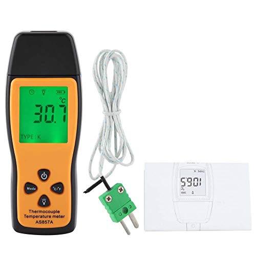 SMART SENSOR AS857 Digitales Thermoelement Thermometer, Hochpräzises Temperaturmessgerät mit K Typ und LCD Hintergrundbeleuchtung, -200 ℃ bis 70 ℃ (-328 ℉ bis 1292 ℉)