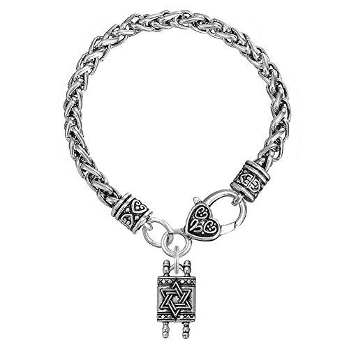 Bracelet religieux avec breloque en forme d'étoile de David - Bijou hébreu - Bijou pour homme et femme