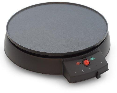 Pannenkoekenmachine, sterke 1000W, pannenkoekenmaker met houten patel, bakplaat met verhoogde rand (zwart)