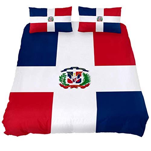 Eslifey Bettwäsche-Set Dominikanische Republik Flagge, weich, 3-teilig, 150 x 200 cm, für Schlafzimmer