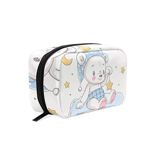 Trousse de maquillage avec fermeture à glissière pour le sac d'embrayage Bonne nuit ours sac de rangement de voyage sac de rangement carré pour les fe