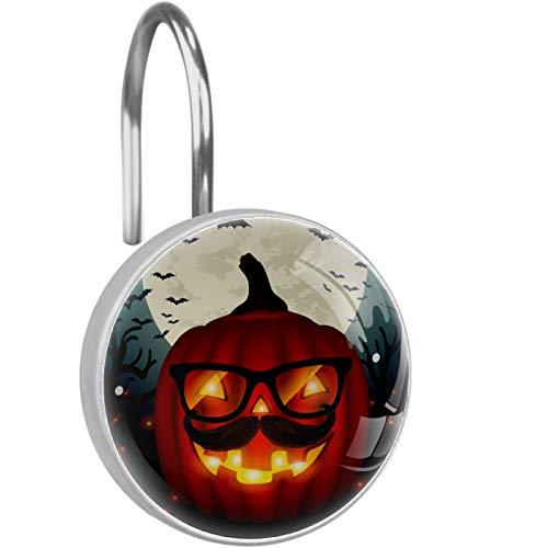 YATELI Ganchos para Cortinas de Ducha - Hipster Pumpkin Glasses - Juego de 12 Anillos de Ducha para Barra de Cortina de Ducha para baño - 100% a Prueba de Herrumbre