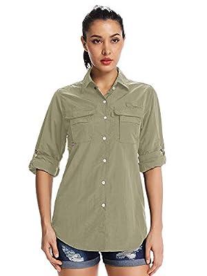 Women's Quick Dry Sun UV Protection Convertible Long Sleeve Shirts for Hiking Camping Fishing Sailing,5055,Khaki,XXL