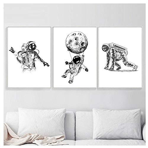 JHCT Leinwand Kunst Schwarz Weiß Rakete Mond Fahrrad Wandkunst Leinwand Malerei Nordic Poster und Drucke Wandbilder für Wohnzimmer Dekor-42X60Cmx3 Pcs Rahmenlos