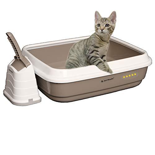 Joli Moulin Exclusiv Katzentoilette offen mit Rand 40x50x15 cm Set mit Streuschaufel und Hygiene-Behälter Non-TOXID Rohmaterial der Umwelt zuliebe Taubengrau