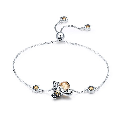 PUDDINGY® 925 Oxidiert Sterlingsilber Königin Honig Biene kleine Hummel Anhänger Armband