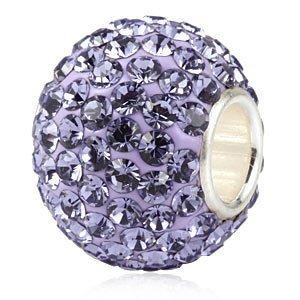 Andante-Stones 925 Sterling Silber Kristall Glitzer Bead Charm TANSANIT als Kettenanhänger oder Element für Bettelarmbänder + Organzasäckchen