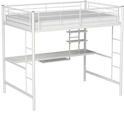 White full size loft bed
