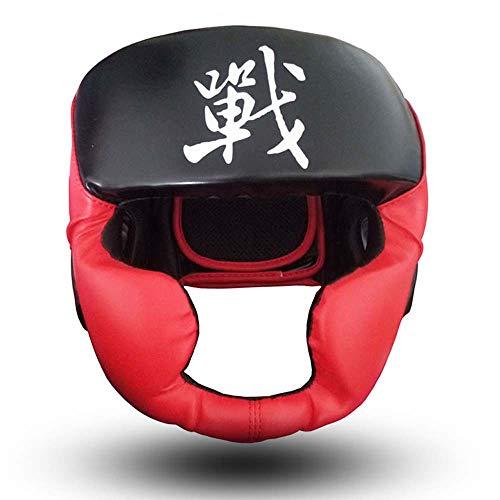 SJF Accesorios de Boxeo para la Cabeza, Escudo para la Cabeza, Hecho de Material de Cuero Duradero y Transpirable, con Protector de Orejas, Adecuado para Artes Marciales, Combate, Taekwondo, Karate