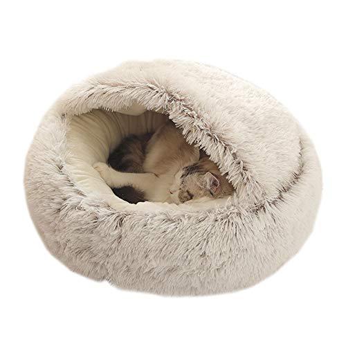 You's Auto Waschbares Flauschi Katzenhöhle Tierbett große Kuschelhöhle für Hund, Katze & Haustier (Braun)