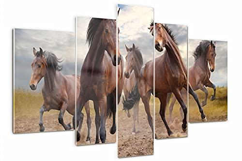 Tulup Cuadro de Cristal Pintura sobre Vidrio 170x100cm Imagen Gráfica Impresión de 5 Piezas Decoracion de Pared Moderno Vidrio Cristal - cinco caballos