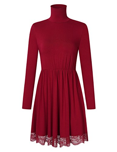 Metermall Fashion for Leadingstar Dames Effen kanten rand Elastische taille Coltrui A-lijn Casual jurk met lange mouwen