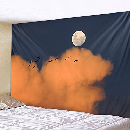 PPOU Cielo Estrellado Luna Tapiz psicodélico Colgante de Pared Sala de Estar Dormitorio Arte Fondo Tela Mandala Bohemio decoración del hogar A10 100x150cm