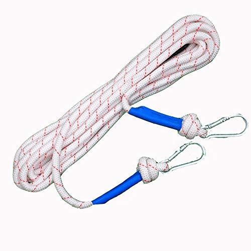 Corde d'escalade 20 mm Sécurité à l'extérieur Corde d'escalade Corde de sécurité Lifeline sécurité Incendie (Blanc) pour la randonnée spéléo Camping Sauvetage (Color : White, Size : 20mm x 30m)
