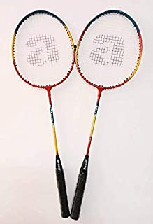 arnav Steel Shaft Multicolour Badminton Racquet Set of 2 Pcs with Full Cover