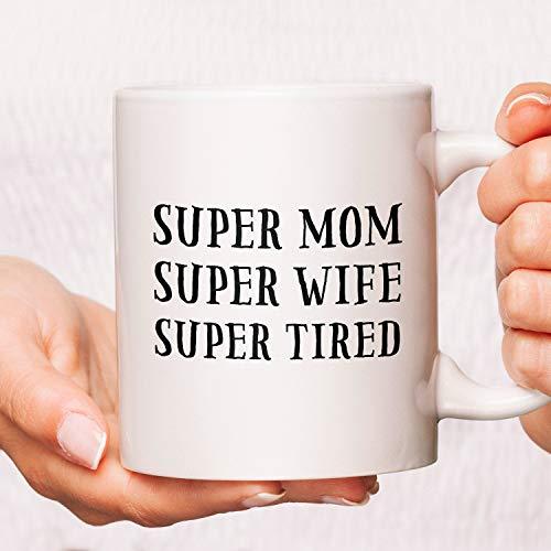 Promini Decorative Mug Mothers Day Mug, Mom Coffee Mug, Mom Mug, Mothers Day Cup, Funny Mom Mugs, Mom Coffee, Super Mom Super Wife Super Tired Coffee Mugs Gifts 15oz White Mug