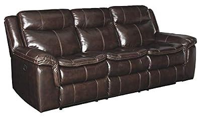 Ashley Lockesburg Leather Reclining Sofa in Canyon