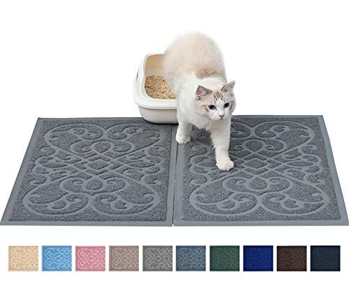 """PetLike Matte für Katzenstreu, strapazierfähig, 76,2 x 45,7 cm, hält Streu aus Box und Katzen, Streukontrolle, weich auf Katzenpfoten, 30""""x18"""", Grey(2pcs)"""