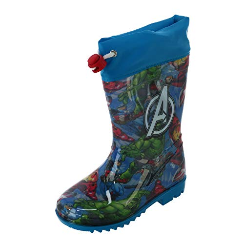 Textiel Trade Kid's Marvel Avengers Rubber Rain Boots, 9.5-10.5, Blue