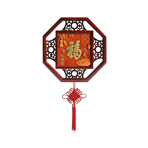 Tassels for Crafts Chinese Style Wood Carving Three-dimensional Pendant Living Room Dining Room Fu Character Pendant Decoration Chinese Knot Handicrafts for Luck Wealth Health to Friends Family