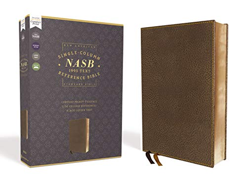 NASB, Single-Column Reference Bible, Wide Margin, Leathersoft, Brown, 1995 Text, Comfort Print