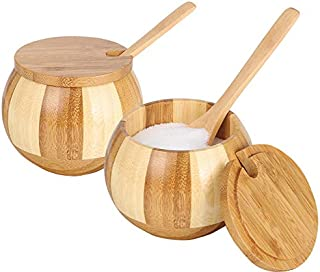 Mother's taste BB Salt Box Natural Bamboo Seasonings Storage Container Bowl with Lid and Spoon Round Spice Cellar for Salt...