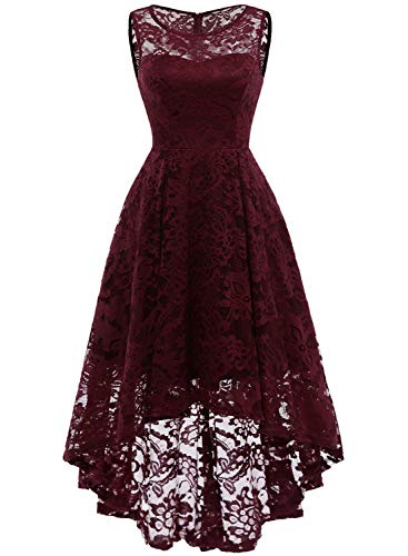 MuaDress Vintage Cocktail Vestiti Elegante Donna Hi-Lo Fiore Pizzo Burgundy XS