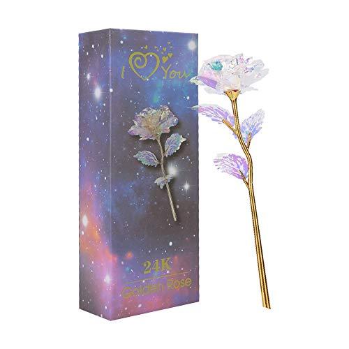 dgaf&bae Gold Rose Geschenk für Frauen 24K Galaxy Rose Blumen Künstlich Deko Unechte Blumen Plastik für Hochzeit Freundin Muttertag(Blau)