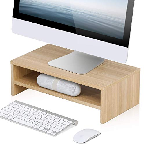 Laptop Stand Walnut Color Monitor Stand Wood Color Wood 2 Tier PC Laptop Computer Screen Riser Desktop Keyboard Shelf 42.5x23.5x14cm