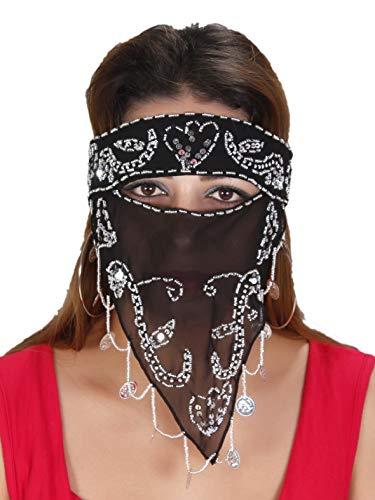 Arabische Beduinen-Maske Gesichtsschleier Folkloretanz-Schmuck Orient Fasching Karnevalsschmuck, schwarz-Silber