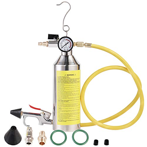 JIFETOR AC Flush Kit, Car Air Conditioner System Clean Canister Flushing Gun Tool Set, for Auto R12 R22 R134A R404A R410A HVAC Pipe Line Cleaning, with 220PSI Gauge, Air Plug Fittings and Hose