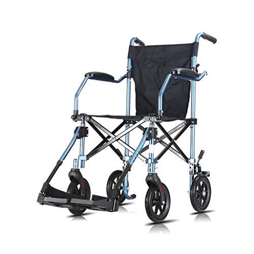 HYRL Leichter Transportstuhl mit abnehmbaren und hochklappbaren Armen für einfachen Transfer, zusammenklappbarer manueller Rollstuhl, inklusive Kippschutz, blau