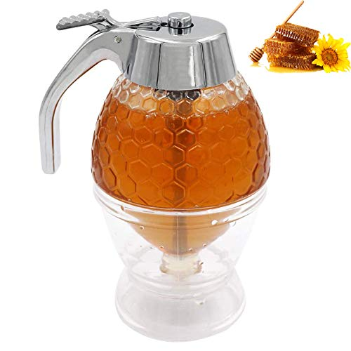 Honey Dispenser, Portable Acrylic Honey Jar Container Honey, Syrup Dispenser Glass Container, Syrup Container for serving honey and syrup