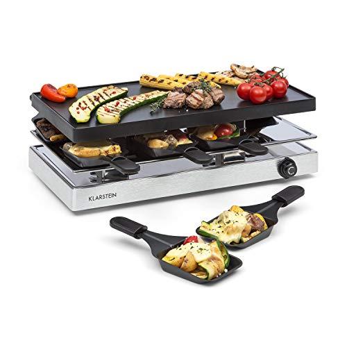 Klarstein Gourmette - Raclette, Raclette con Piastra Grill in Alluminio, Grill per Raclette, 8 Persone, 1200 Watt, Termostato, Acciaio, Argento