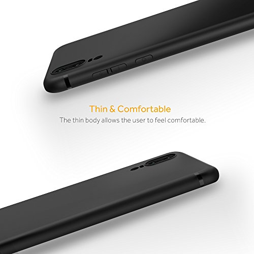 EasyAcc Huawei P20 Hülle Case, Schwarz TPU Telefonhülle Matte Oberfläche Handyhülle Schutzhülle Schmaler Telefonschutz für das Huawei P20 5.8'' - 5