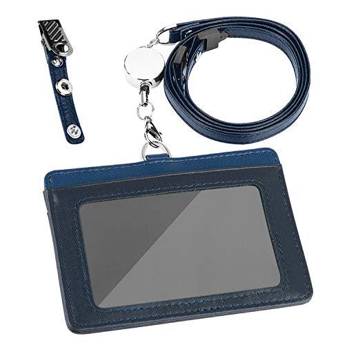Maiwey IDカードホルダー 横型 IDカードケース ネームホルダー 伸縮リール式 クリップストラップ付き 両面用 本革 ギフト包装 (ダークブルー+ライトブルー)