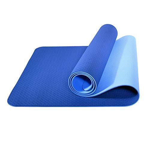 L LONGANCHANG Esterilla Yoga Deporte, Antideslizante TPE Ecológico Yoga Mat, Colchoneta Gimnasia Fitness Alfombrilla Gimnasio para Ejercicio en Casa, con Bolsa y Toalla, 183 x 61 x 0,6 CM, Azul