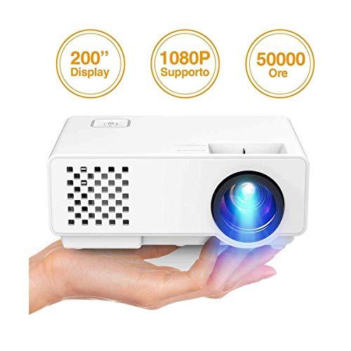 Mini Beamer,Projector Hd,Videoprojektor 4200s 176 Zoll 50.000 Stunden Heimkino-Kompatibel 1080p Hdmi Vga-Handel USB Schwarz
