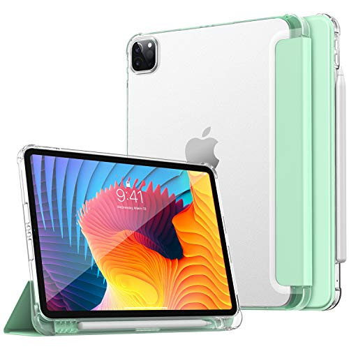 Dadanism New iPad Pro 11 inch Case 2021 (3rd Gen) with Apple Pencil Holder, Soft TPU Translucent Frosted Back Cover Smart Shell for iPad Pro 11' 2021, Auto Wake/Sleep, Green