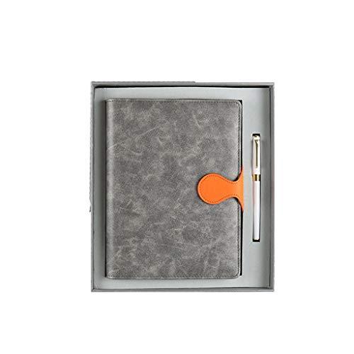 HXF Record Business Cuaderno de trabajo exquisito diario grueso para oficina hojas sueltas con personalidad creativa A5 cuaderno de mano (color: gris-b)