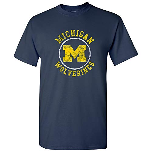 AS04 - Michigan Wolverines Distressed Circle Logo Mens T-Shirt - Large - Navy