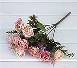 AIHONG Boda Ramo de Novia 10 Rosas Piezas Artificiales Ramos de Novia de la Boda del Brote Inicio cumpleaños decoración del jardín para decoración de Bodas (Color : Pink B)