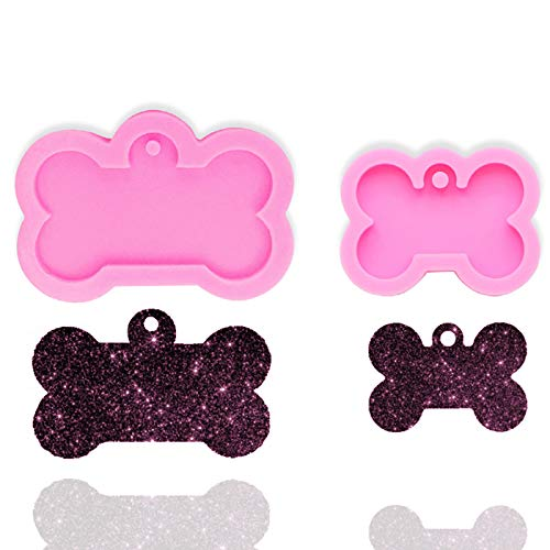 2pcs Creative Dog Bone Shaped Silicone Mold,Handmade Keychain Silicone Mold with Hole for DIY Cupcake Cake Topper Decoration Ice Cube Candy Fondant Mold Jelly Shots Ice Cream Pudding Desserts