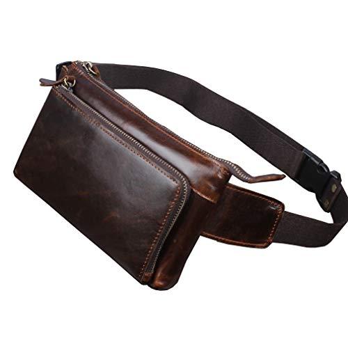 Bolso de la vendimia de cuero Fanny Pack para hombres mujeres cintura bolsa cadera Bum cinturón delgado teléfono celular monedero bolsa viaje senderismo correr marrón