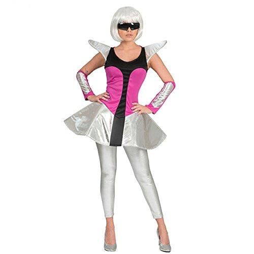 Funny Fashion Damen Kostüm Space Travel Kleid silber/pink Armstulpen Weltraum Weltall (44/46)