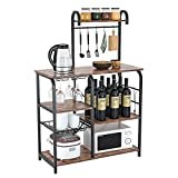 QSSLLC Kitchen Baker's Rack, Vintage Kitchen Shelf, Microwave Stand with 6 S-Hooks, Pull-Out Wire Basket & Wine Glass Rack, 3-Tier + 4-Tier Coffee Station for Kitchen, Office, Bathroom, Living Room