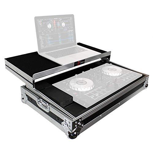 ProX X-MXTSBLT Flight Case for Pioneer DDJ-SB DDJ-SB2 and Numark Mixtrack Pro II Digital Controller With Sliding Laptop Shelf - Silver on Black Design