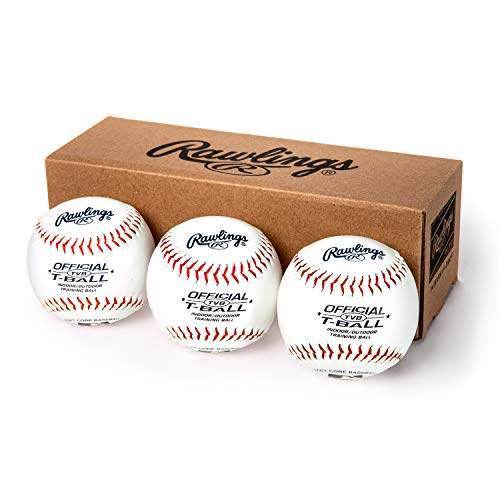 Rawlings Youth Tball or Training Baseballs, Box of 3 Tballs, TVBBOX3, White, Official Size