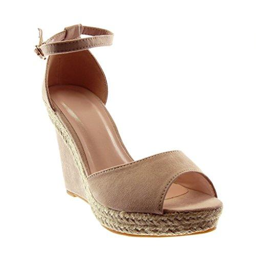 Angkorly - Zapatillas Moda Sandalias Mules Peep-Toe Correa de Tobillo Plataforma Mujer Cuerda Tanga Plataforma 11 CM - Rosa 056 T 37