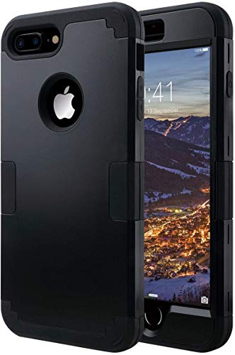 ULAK iPhone 7 Plus Case, Heavy Duty 3 in 1 Hybrid Hard PC Back Cover with Shock Absorption Soft Rubber Bumper Anti-Scratch Rugged Protective Phone Case for iPhone 7 Plus 5.5 inch, Black